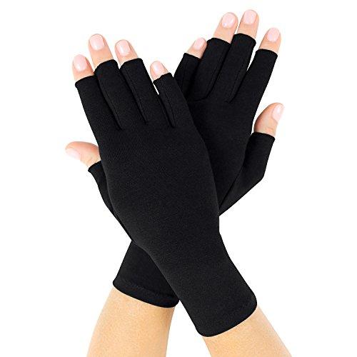 Vive Arthritis Gloves - Fingerless Compression Gloves for Rheumatoid & Osteoarthritis - Black Men & Women Hand Gloves for Arthritic Joint Pain Symptom Relief - Open Finger for Computer Typing (Medium)
