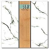 Stylish and Luxurious White Carrara Marble x Natural Oak Wood Bathroom Scale