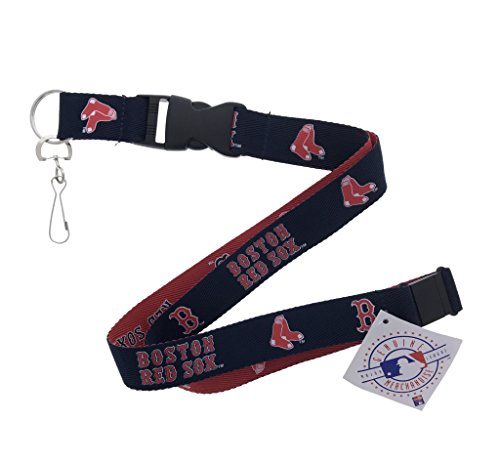 Baseball Sports Lanyard, 2 Tone, Woven Polyester, with Clip (Red Sox)