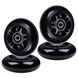 AOWISH 4-Pack 4-Pack Inline Skate Wheels 85A [Available in Sizes 64mm 70mm 72mm 76mm 80mm] Rollerblade Replacement Wheel with Bearings ABEB-9 (76 mm/Black Hub Black Wheel)