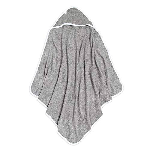 Burt's Bees Baby - Hooded Towel, Absorbent Knit Terry, Super Soft Single Ply, 100% Organic Cotton (Heather Grey, 1-Pack)