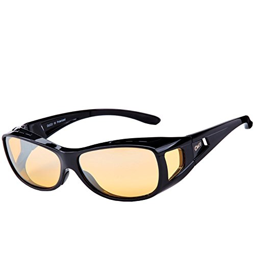 Duco Myopia Night Vision Glasses Wraparound HD Prescription Glasses Night Driving Polarized 8953Y Common Size Black