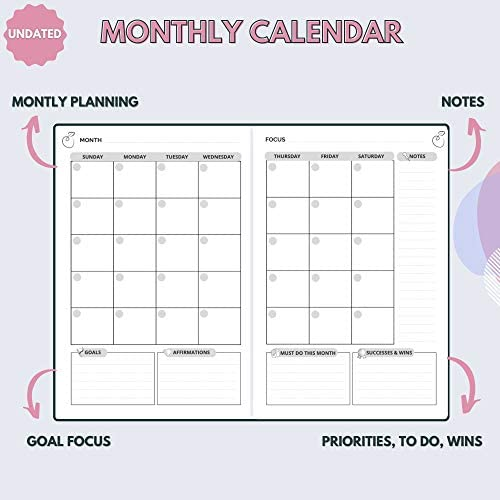 The Growth Planner - Daily Planner for Productivity, Focus and Gratitude - Goal Planner with Hourly Schedule and Monthly Calendar - Get Organized and Achieve Your Goals - Undated (Black) 4