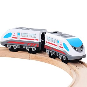 ZONXIE Magnetic Battery Operated Action Train Powerful Engine Bullet Train Toys Car for Toddlers Compatible with Thomas Brio Tracks 41RTaQojUGL