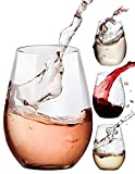 Stemless Wine Glasses, 20- Ounce, Drinking Glass Set, Tumbler Cup, Clear, 4- Piece, Ideal for Red and White Wine, Juice, Water, Kitchen Glassware, Beach, Wedding and Party Gifts - Amallino