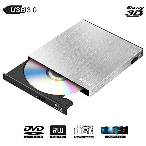 External Blu Ray DVD Drive Burner 4K 3D, Portable Ultra Slim USB 3.0 Bluray BD CD DVD Burner Player Writer Reader Disk for PC Mac OS, Windows 7/8/10,Linxus, Laptop