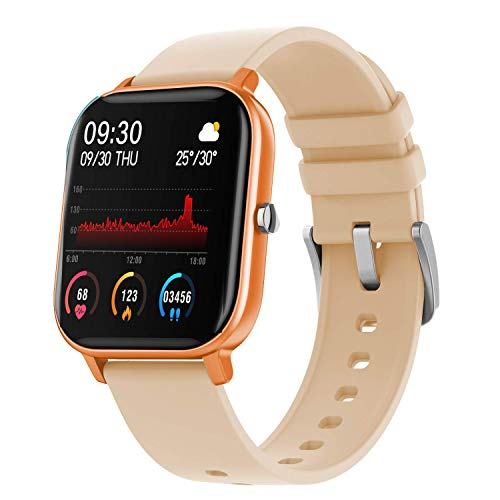 Fire-Boltt SpO2 Full Touch 1.4 inch Smart Watch 400 Nits Peak Brightness Metal Body 8 Days Battery Life with 24*7 Heart Rate Monitoring IPX7 with Blood Oxygen, Fitness, Sports & Sleep Tracking (Gold)