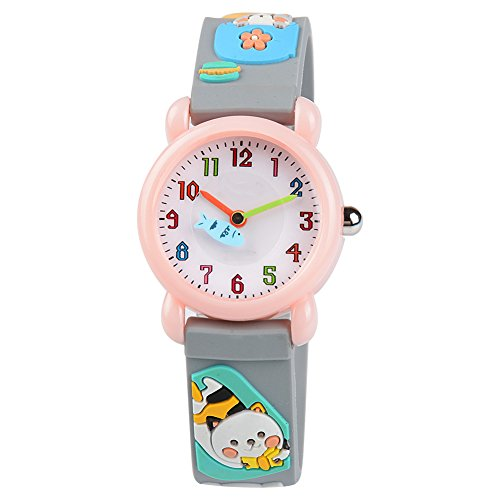 Venhoo Kids Watches Cartoon Waterproof Silicone Children Wristwatches Time Teacher Gifts for Girls (Gray Cat)