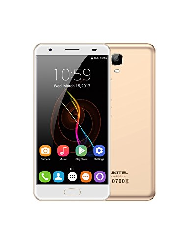 Unlocked Cell Phones, Oukitel OK6000 Plus 6080mAh Big Battery Smartphone 5.5 Inch Dual SIM Android 7.0 Octa Core 4GB RAM 64GB ROM Mobile Phone 9/2A Quick Charge Fingerprint OTG-Gold