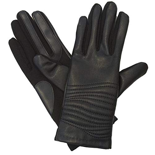 Isotoner Women's Genuine Leather Gloves with SmarTouch Technology and Fleece Lining, L/XL Black
