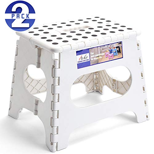 Acko Folding Step Stool Lightweight Plastic Step Stool 2 Pack,11 inch Foldable Step Stool for Kids and Adults,Non Slip Folding Stools for Kitchen Bathroom Bedroom (White, 2 Pack)