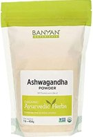 Banyan Botanicals Organic Ashwagandha Powder – Withania somnifera – for Healthy Adrenals & Immune System, Stress Relief, Strength, Balanced Mood & More* – 1lb. – Non-GMO Sustainably Sourced Vegan