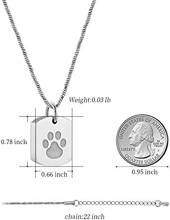 Minicremation Cremation Jewelry Urn Necklace for Ashes for Pet, Paw Print Memorial Ash Jewelry, Keepsake Pendant for Pet's Cat Dog's Ashes with Filling Kit 2