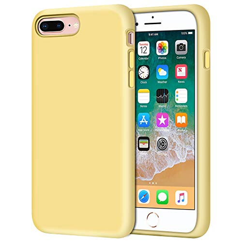 iPhone 8 Plus Case, iPhone 7 Plus Case, Anuck Soft Silicone Gel Rubber Bumper Case Microfiber Lining Hard Shell Shockproof Full-Body Protective Case Cover for iPhone 7 Plus /8 Plus 5.5' - Yellow