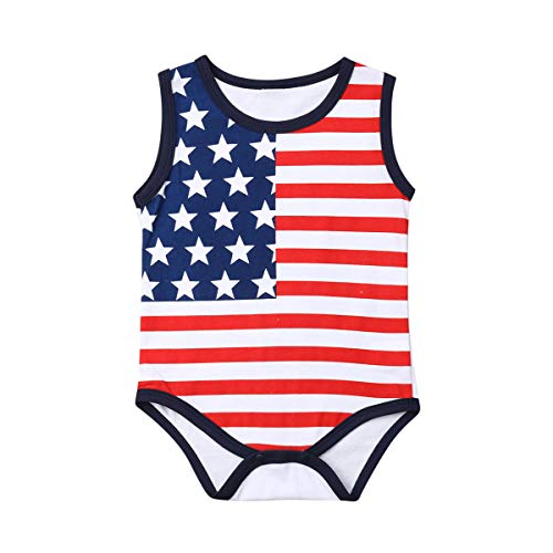 Lzxuan 4th of July Baby Boys Girls Romper Newborn American Flag Flag Jumpsuit One-Piece Bodysuit Outifits (Sleeveless, 12-18M)