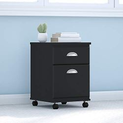 kathy ireland Home by Bush Furniture Connecticut 2 Drawer Mobile File Cabinet in Black Suede Oak