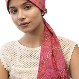 The Headscarves Women's Cotton Chemo Cap with Medium Size Tails (Pink)
