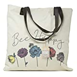 ReLIVE Decorative Expressions - 18x18 Canvas Reusable Tote Bag - Bee Happy