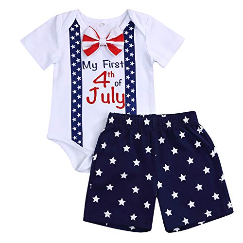 My First 4th of July Baby Boys Short Sets Infant Short Sleeve Romper+Stars Shorts Formal Gentleman Bowtie Outfits (White, 3-6 Months)