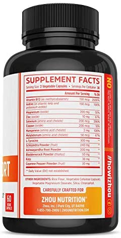 Zhou Nutrition Thyroid Support Complex with Iodine - Energy, Metabolism & Focus Formula - Vegetarian, Soy & Gluten Free - 'Feel Like Your Old Self Again' 5