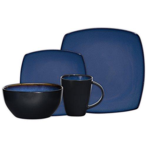 Gibson Elite Soho Lounge Reactive Glaze 16 Piece Dinnerware Set in Blue; Includes 4 Dinner Plates; 4 Dessert Plates, 4 Bowls and 4 Mugs