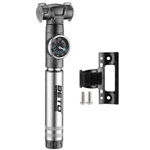 Beto Mini Bike Pump with Gauge- 2 Stage Portable Bicycle Tire Air Inflator- Mounting Bracket Included (Black) 41RzpY5Y 2BqL