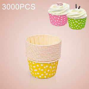 JIXIAO Mold 3000 PCS Dot Pattern Round Lamination Cake Cup Muffin Cases Chocolate Cupcake Liner Baking Cup, Size: 6.8 x 5 x 3.9cm (Pink) (Color : Yellow) 41S 2BrBi2XWL