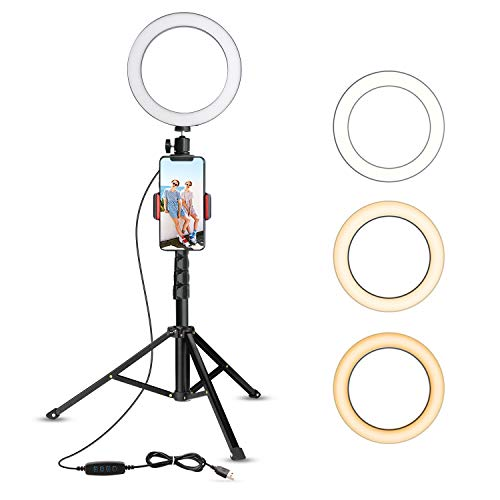 UBeesize 8' Selfie Ring Light with Tripod Stand & Cell Phone Holder for Live Stream/Makeup, Mini Led Camera Ringlight for YouTube Video/Photography Compatible with iPhone Xs Max XR Android (Upgraded)
