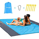 AOMAIS Sandless Beach Blanket Camping Mat Waterproof Large【Comfortable for 12+Adults】 Outdoor Travel Accessories & Portable Family Picnic Mat Lightweight Soft and Durable Machine Washable