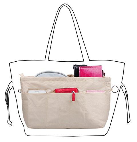 Vercord Handbag Purse Tote Pocketbook Organizer Insert Zipper Closure 11 Pockets, Beige L