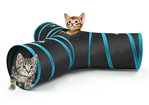 Pawaboo Cat Tunnel, Premium 3 Way Tunnels Extensible Collapsible Cat Play Tunnel Toy Maze Cat House with Pompon & Bells for Cat Puppy Kitten Rabbit, Black & Light Blue