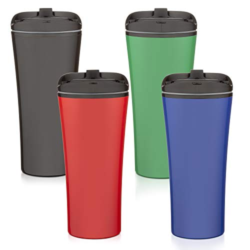 Set of FOUR color coffee cup Insulated Travel Car Mug | Spill LEAK Proof Flip Lid | Triple Wall Vacuum Insulated Coffee & Tea Mug Keeps Hot or Cold | 16 oz | leak free | great for travel. Liquor Sip.