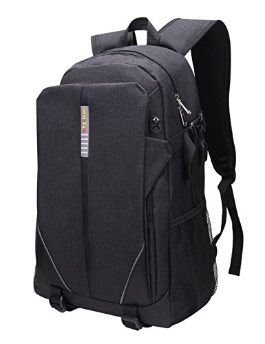 Slim Laptop Backpack, Water Resistant Anti Theft College Backpack With USB Charging Port and Headphone Hole, Lightweight Computer Backpack Fit 15' 15.6' 16' Laptop, Tablet, MacBook Pro - Grey