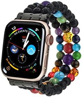 PLTGOOD Beads Bracelet Apple Watch Band 38mm/40mm, 42mm/44mm Watch Strap for Women Men – Apple iWatch Series 6/5/4/3/2/1/SE