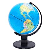 Exerz Classic Swivel Globe (Large Dia 10' / 25cm) - Political Desktop World Globe - Educational, Decorative, Large, Modern Style, Striking Blue Coloured As The Ocean, School, Home, Office