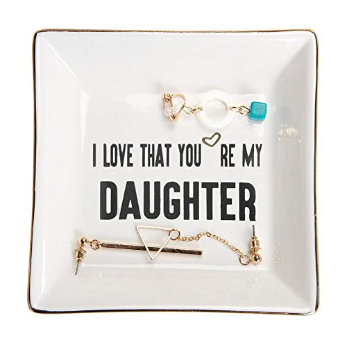 HOME SMILE Daughter Gifts Ceramic Ring Dish Decorative Trinket Plate -I Love That You are My Daughter