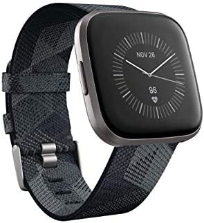 41S82LGaMOL. AC  - Fitbit Versa 2 Special Edition Health & Fitness Smartwatch with Heart Rate, Music, Alexa Built-in, Sleep & Swim Tracking, Smoke Woven/Mist Grey, One Size (S & L Bands Included)