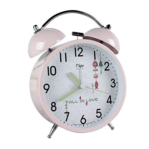 JUSTUP Silent Table Clock,4-Inch Mini Non-Ticking Vintage Classic Analog Alarm Clock with Backlight,Battery Operated Travel Clock, Loud Twin Bell Alarm Clock for Kids (Pink)