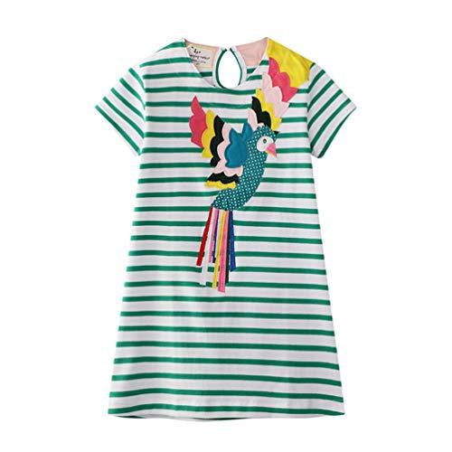 Eocom Little Girls Soft Summer Cotton Short Sleeve Dresses T-Shirt Casual Cartoon Dress (Stripe Bird, 3T)
