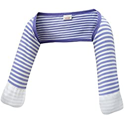 ScratchSleeves | Baby Boys' Stay-On Scratch Mitts Stripes | Blue and Cream | 6 to 9 Months