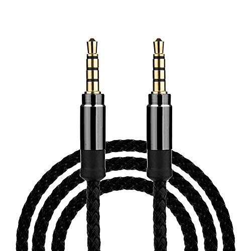 USB Adapter, Sacow 3M/10Ft Braided Male to Male Aux 3.5mm Jack Stereo Audio Cable for Cell Phone Tablet (Black)