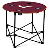 VA Tech Hokies Collapsible Round Table with 4 Cup Holders and Carry Bag