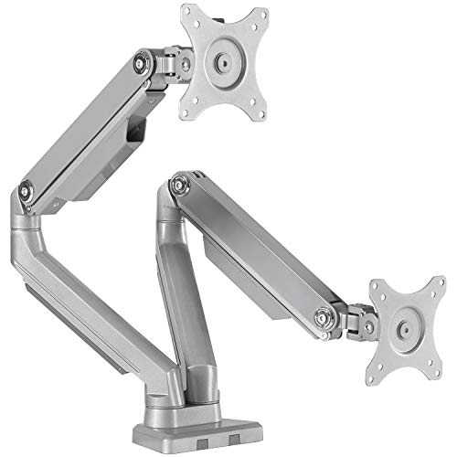 EleTab Dual Arm Monitor Stand - Height Adjustable VESA Mount Fits for 2 Computer Screens 17' to 32' - Each Arm Holds up to 17.6 lbs
