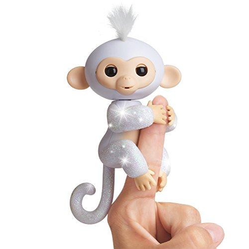 Fingerlings Glitter Monkey - Sugar (White Glitter) - Interactive Baby Pet - By WowWee