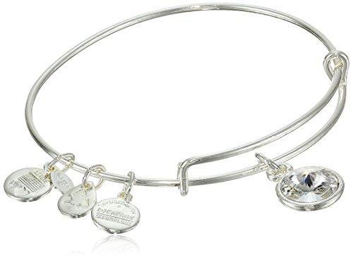 Alex and Ani 'Bangle Bar' April Imitation Birthstone Shiny-Silver Tone Expandable Bracelet