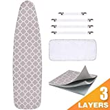 Sunkloof Scorch Resistance Ironing Board Cover and Pad Resists Scorching and StainingIroning Board Cover with Elasticized Edges and Pad 15'x54' 4 Fasteners and 1 Large Protective Scorch Mesh Cloth