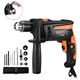 Hammer Drill, TACKLIFE 1/2-Inch Electric Drill, 12 Drill Bit Set, 2800 RPM, Variable-speed Trigger, 360° Rotating Handle, For Brick, Wood, Steel, Masonry - PID01A