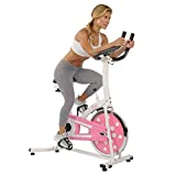Sunny Health & Fitness Indoor Cycling Exercise Stationary Bike with Monitor and Flywheel Bike, Pink - P8100