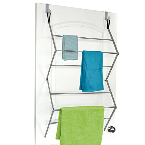 "Homz ""Over The Door"" Towel and Garment Drying Rack, 23.5"" x 8.5"" x 39"", Silver (4150004)"