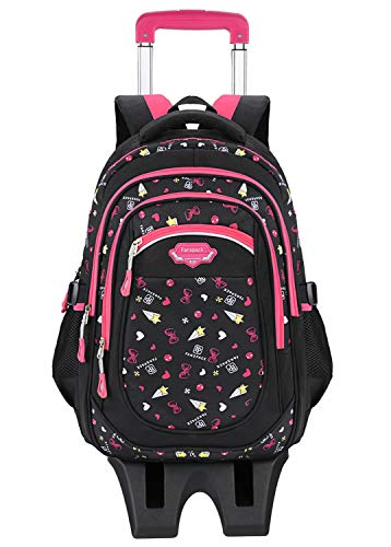 Rolling Backpack, Fanspack Kids Rolling School Backpack for Girls Wheeled Backpack Six-wheel Climbing Stair Roller Backpack for Girls
